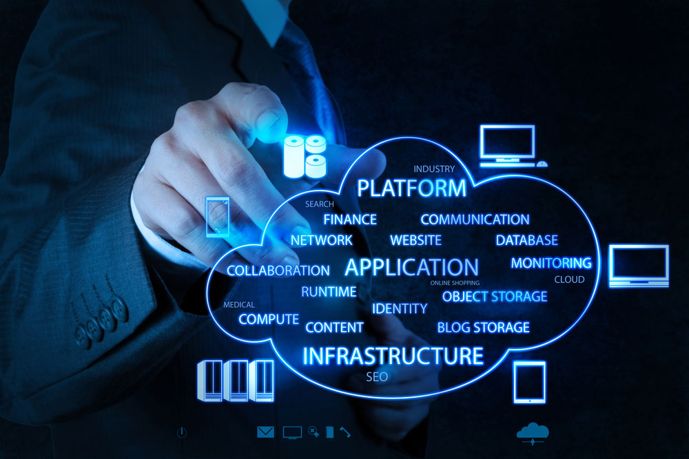 businessman working with a cloud computing device